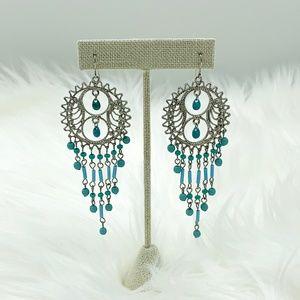 Jewelry - Silver Turquoise Beaded Chandelier Earrings